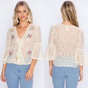 Flying Tomato Floral Embroidered Surplice Top